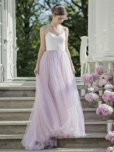 Romantic Spaghetti Strap Tulle Wedding Dresses_1