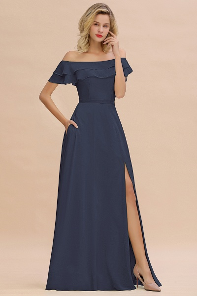 BM0775 Off-the-Shoulder Front Slit Mint Green Long Bridesmaid Dress_39