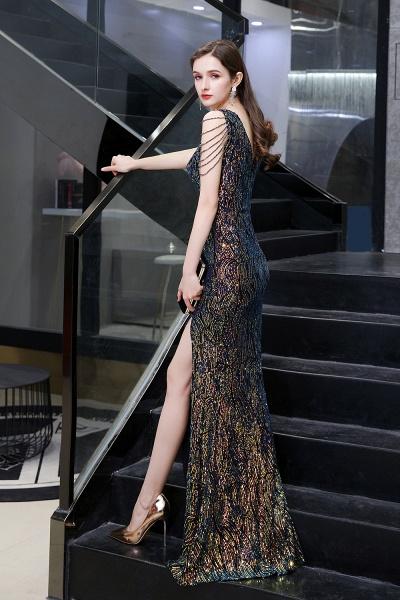 V-Neck Sequins Long Evening Dress With Split_7