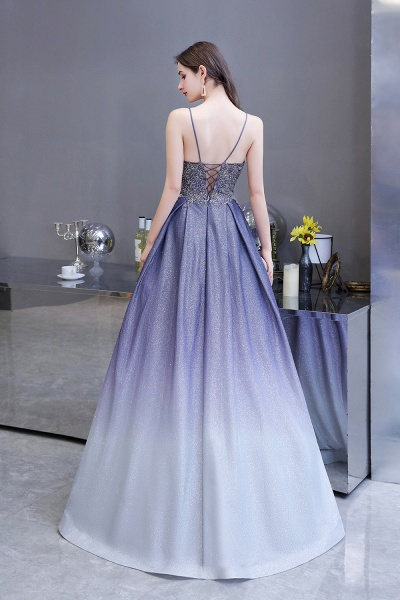 Elegant Spaghetti Straps Appliques Beads Ombre Prom Dress_6