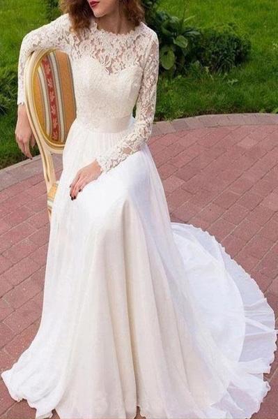 Vintage Long Sleeves Chiffon with Lace Flowy Beach Wedding Dress_1