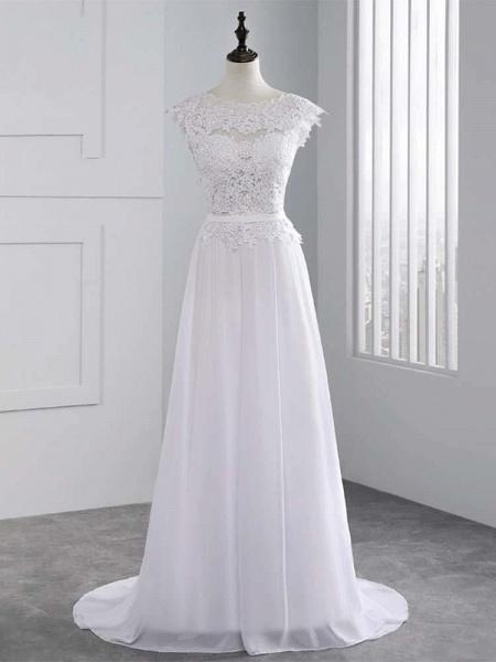 Lace Appliques Covered Button A-Line Wedding Dresses_1