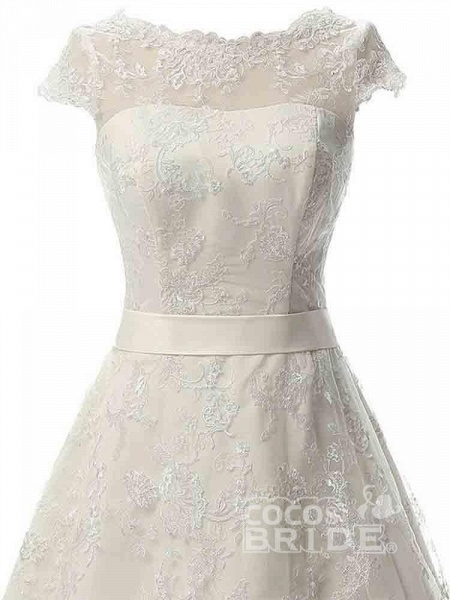 Glamorous Cap Sleeves Covered Button Ribbon Wedding Dresses_4