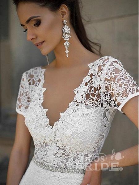 Gorgeous V-neck Short Sleeves Lace Mermaid Wedding Dresses_3