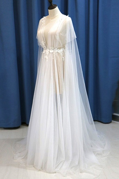White Tulle V Neck A Line Beach Wedding Dress_4
