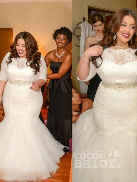 Half Sleeves Sashes Mermaid Wedding Dresses_3