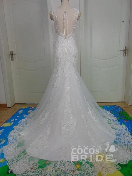Unique Lace Appliques Mermaid Wedding Dresses_5