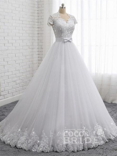 Elegant Short Sleeves Lace Beaded Tulle Wedding Dresses_2