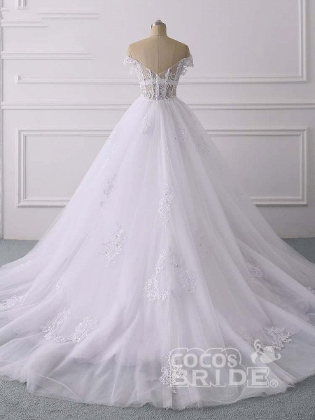 Glamorous Off-the-Shoulder Lace Tulle Mermaid Wedding Dresses_2