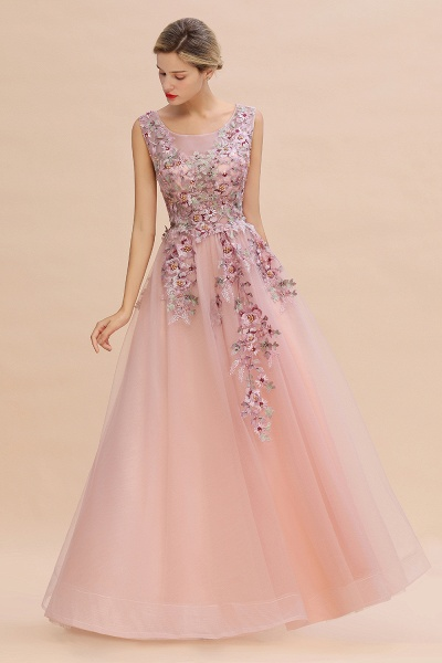 Gorgeous Dusty Pink Tulle Long Lace Appliques Prom Dress_4