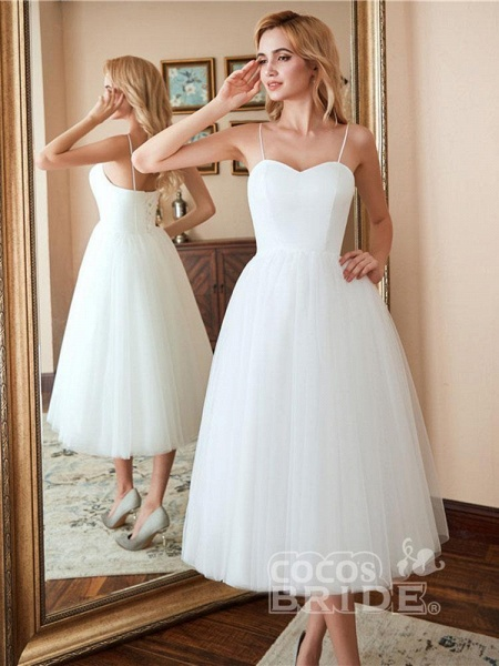 Spaghetti-Strap Lace-Up Tulle Short Wedding Dresses_2