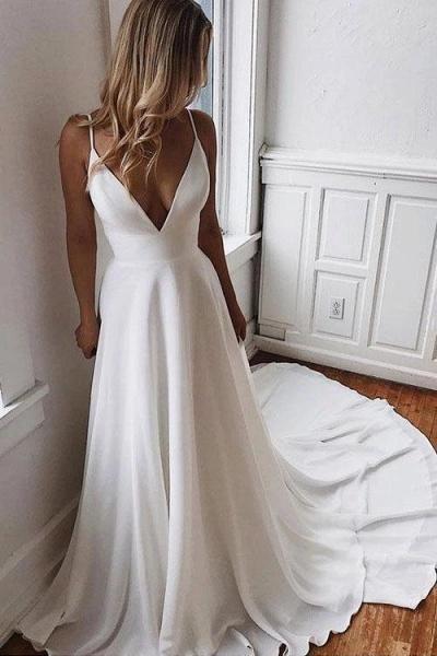 Simple Spaghetti Strap Chiffon Beach Wedding Dress_1
