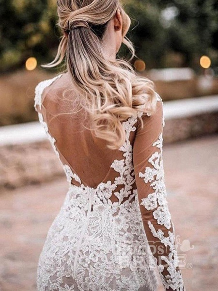 Appliques Long Sleeve Lace Mermaid Wedding Dresses_4