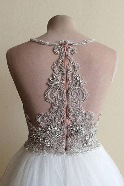 White Tulle Crystal Beaded Wedding Dress_3