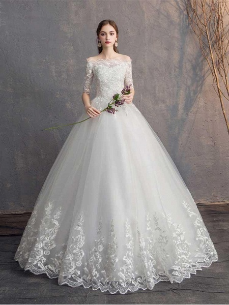 Elegant Lace-Up Tulle Ball Gown Wedding Dresses