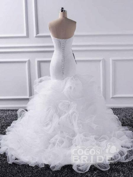 Elegant sweetheart Mermaid Tulle Wedding Dresses_2
