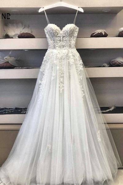 A Line Lace Wedding Dress 2021 Princess White Long Formal Bridal Gown_1