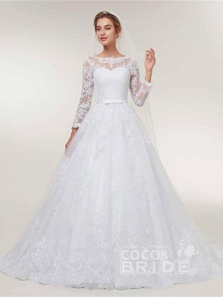 Glamorous Long Sleeve Lace Ruffles Wedding Dresses_3