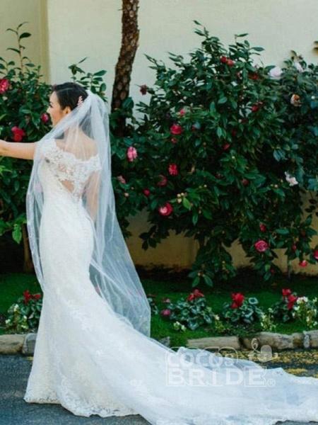 Elegant Cap Sleeves Lace Sweep Train Mermaid Wedding Dresses_5