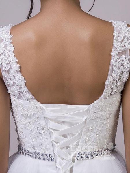 Fancy V-Neck Lace Up Sleeveless A Line Wedding Dresses_5