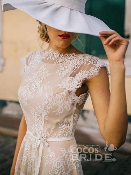 Boho Chic A Line Cap Sleeve Lace Wedding Dresses_2
