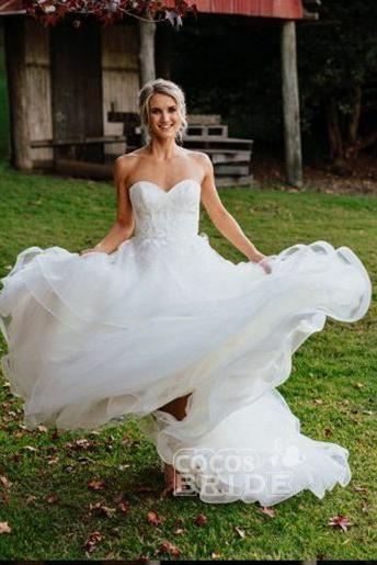 Charming Sweetheart Tulle Puffy Backless Beach Wedding Dress_3