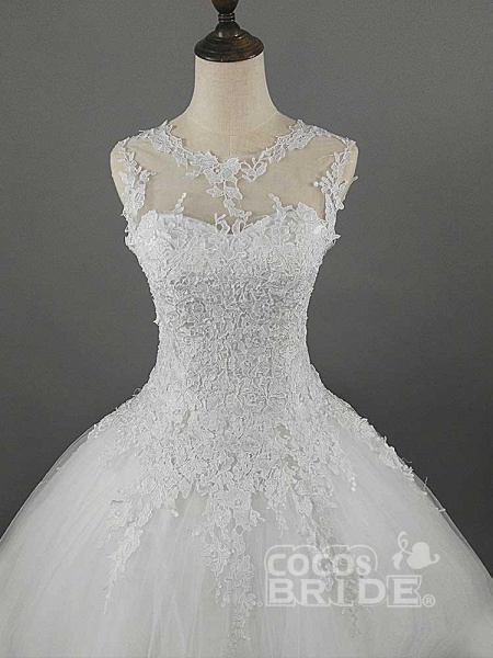 Glamorous Lace Ball Gown Tulle Wedding Dresses_4