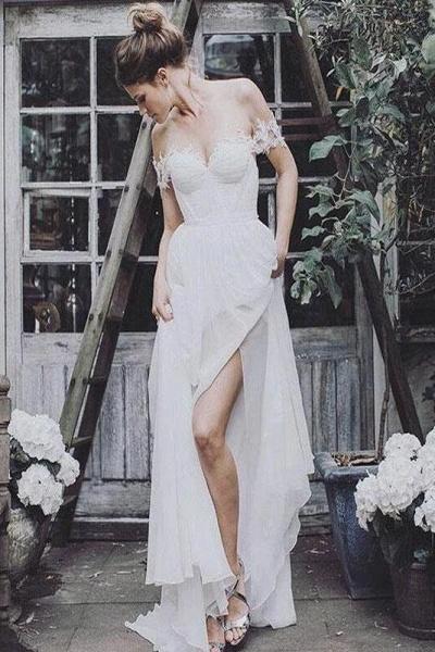 Simple Cheap Flowy Appliques Beach Wedding Dress_1
