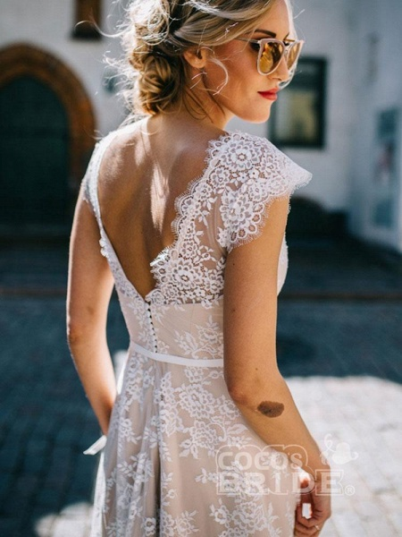 Boho Chic A Line Cap Sleeve Lace Wedding Dresses_3