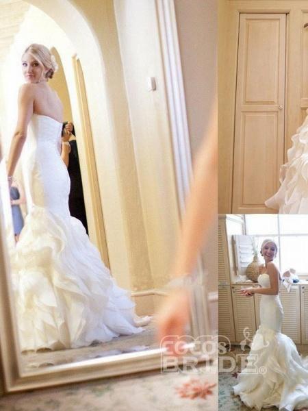 Strapless Mermaid Sweetheart Ruffles Sweep Train Organza Satin Wedding Dress_2