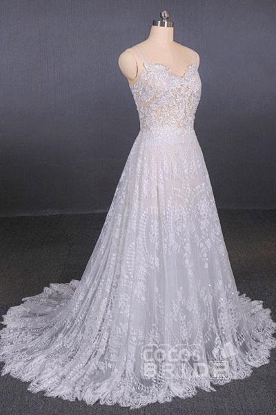 Spaghetti Straps Sweetheart Lace Wedding Dress_5