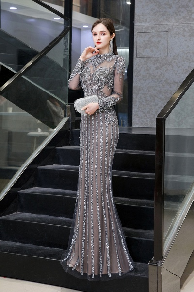 Long Sleeve Mermaid Sequins High-Neck Evening Gowns_6