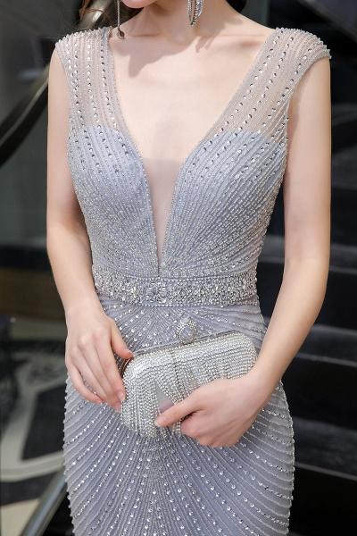 Sexy Mermaid V-neck Silver Long Prom Dress_14
