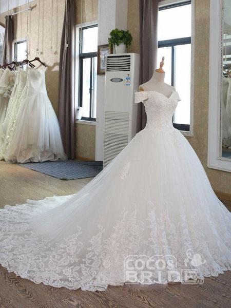 Elegant V-Neck Ball Gown Wedding Dresses Appliques Beaded Court Train_4