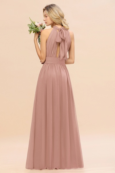 BM0758 Glamorous High-Neck Halter Bridesmaid Affordable Dresses with Ruffle_52