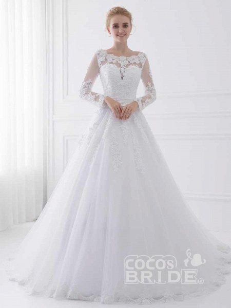 Long Sleeves Lace Ribbon Ball Gown Wedding Dresses_3