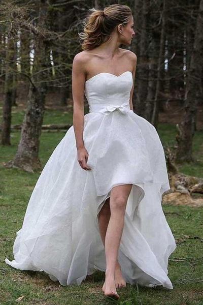 High Low Sweetheart Beach Boho Wedding Dress_1