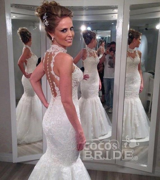 Lace High Neck Mermaid Backless Custom Beach Wedding Dress_2