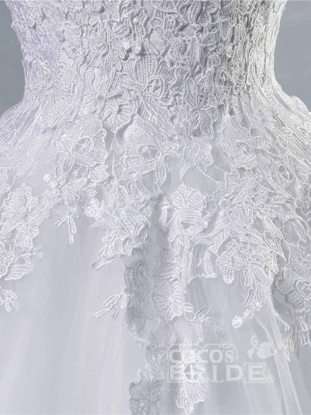 Glamorous Tulle Lace Ball Gown Wedding Dresses_5