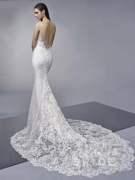 Elegant Backless Lace Mermaid Wedding Dresses_2