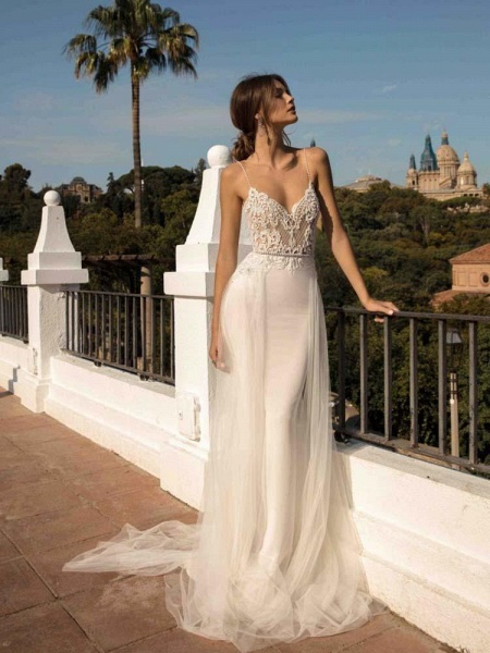 Spaghetti Straps Backless Tulle Wedding Dresses