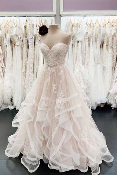 Unique Sweetheart Neck Long A Line Lace Multi-layer Wedding Dress_1