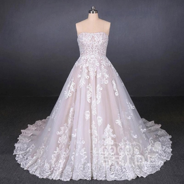 Puffy Strapless Tulle with Appliques Long Train Lace Up Wedding Dress_3