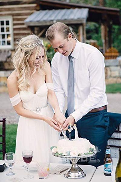 Boho Off the Shoulder Chiffon with Beading Belt Flowy Wedding Dress_2