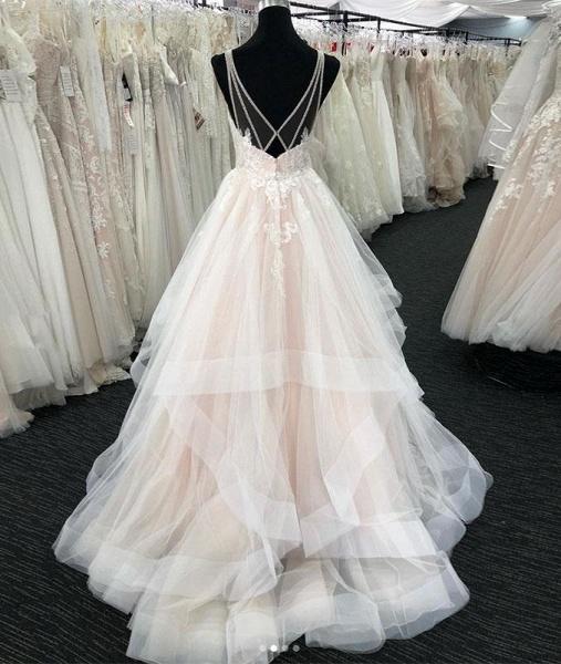 White Tulle V Neck Open Back Long Layered  Wedding Dress_2