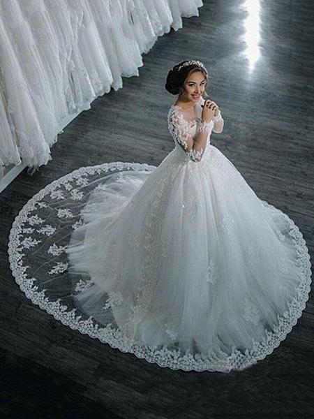 Modest Sheer Neck Long Sleeves Ball Gown Wedding Dresses_1