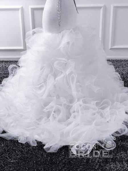 Elegant sweetheart Mermaid Tulle Wedding Dresses_5