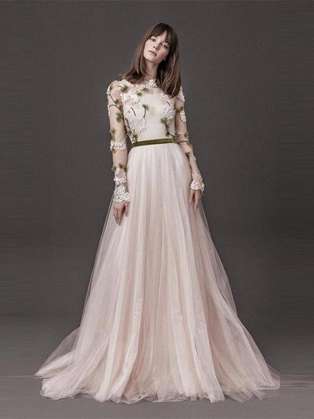 Classic Long Sleeve Appliques A-line Wedding Dresses_1