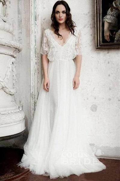Boho Floor Length V Neck Long Rustic Gown Wedding Dress_2