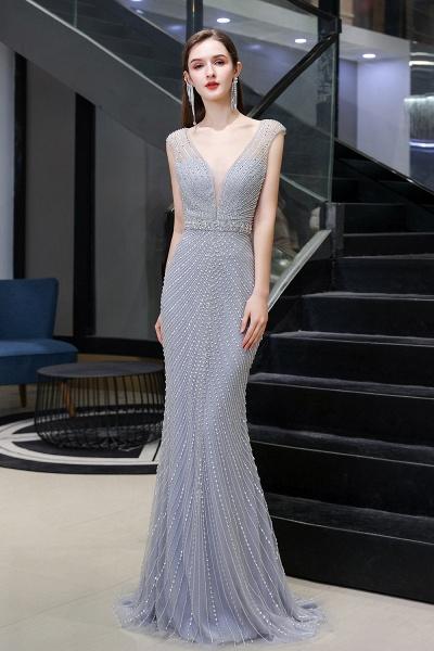 Sexy Mermaid V-neck Silver Long Prom Dress_3